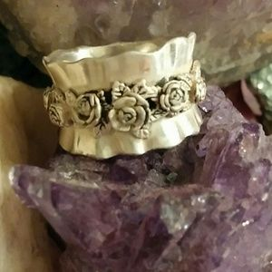"""925 israel silver w 6 roses 18 leaves 1/2""""w band"""
